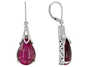 Pre-Owned Pink tiger's eye rhodium over silver earrings