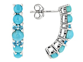 Pre-Owned Blue turquoise sterling silver earrings .12ctw