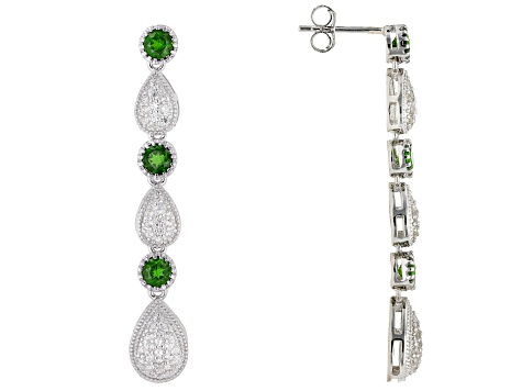 Pre-Owned Green Chrome Diopside Rhodium Over Silver Dangle Earrings 1.87ctw