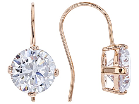 Pre-Owned White Cubic Zirconia Rhodium and 18K Yellow And Rose Gold Over Silver Earring Set of 3