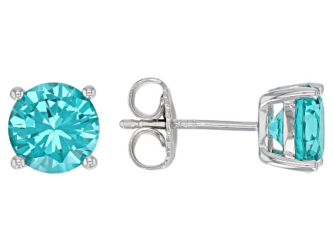 Pre-Owned Blue Lab Created YAG Rhodium Over Sterling Silver Stud Earrings 3.12ctw