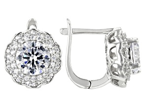 Pre-Owned White Cubic Zirconia Rhodium Over Sterling Silver Center Design Earrings 6.75ctw