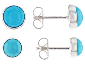 Pre-Owned Turquoise Sleeping Beauty Sterling Silver Earring Set Of Two Pairs