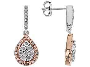 Pre-Owned White Diamond Rhodium & 10K Rose Gold Over Sterling Silver Earrings 0.20ctw