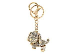 Pre-Owned Gold Tone White Crystal Puppy Key Chain