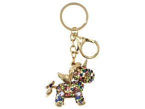 Pre-Owned  Multi-Color Crystal Gold Tone Unicorn Keychain