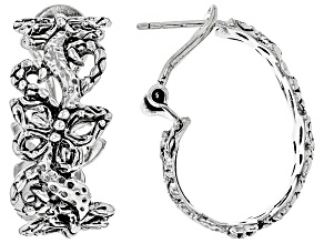 Pre-Owned Sterling Silver Butterfly Hoop Earrings