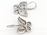 Pre-Owned White Cubic Zirconia Rhodium Over Sterling Silver Butterfly Earrings 3.51ctw