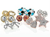 Pre-Owned Multi-color Crystal Gold & Silver Tone Set of 8 Stud Earrings.