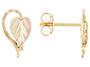 Pre-Owned 10k Yellow Gold And 12k Rose And Green Gold Heart Leaf Stud Earrings