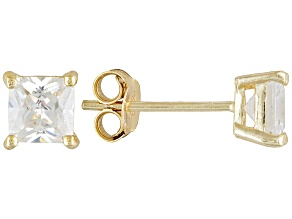 Pre-Owned Bella Luce® 2.00ctw 5mm Princess Cut 18kyellow Gold Over Sterling Silver Stud Earrings