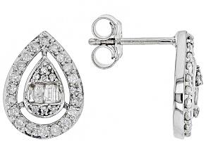 Pre-Owned White Diamond 10k White Gold Earrings 0.60ctw