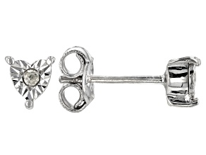 Pre-Owned Diamond Rhodium Over Sterling Silver Earrings Diamond Accent