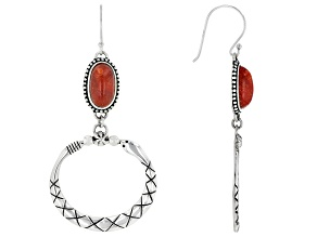 Pre-Owned Red Coral Rhodium Over Silver Serpent Dangle Earrings