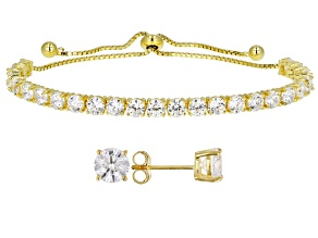 Pre-Owned Cubic Zirconia 18k Yellow Gold Over Silver Bracelet And Earrings Set 11.89ctw