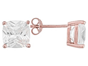 Pre-Owned Bella Luce ® 7ctw Cushion Diamond Simulant 18kt Rose Gold Over Silver Earrings