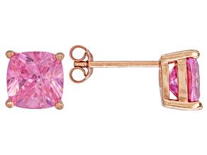 Pre-Owned Bella Luce ® 7ctw Cushion Pink Diamond Simulant 18kt Gold Over Silver Earrings