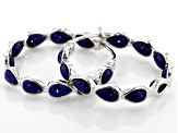 Pre-Owned Blue lapis lazuli rhodium over silver earrings