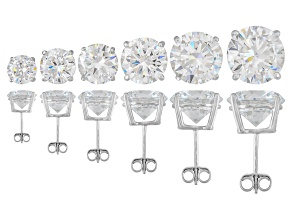 Pre-Owned Cubic Zirconia Rhodium Over Sterling Silver Stud Earrings Set Of 6 38.20ctw