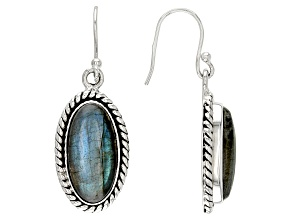 Pre-Owned Gray labradorite sterling silver dangle earrings