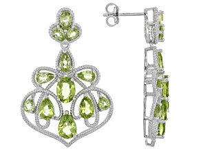Pre-Owned Green Peridot Sterling Silver Earrings 6.97ctw