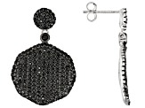 Pre-Owned Black Spinel Rhodium Over Sterling Silver Earrings 2.51ctw