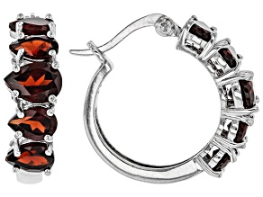 Pre-Owned Red garnet rhodium over silver hoop earrings 4.68ctw