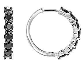 Pre-Owned Black Spinel Sterling Silver Hoop Earrings 4.30ctw