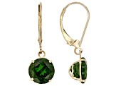 Pre-Owned Green Russian chrome diopside 10K yellow gold dangle earrings 4.40ctw