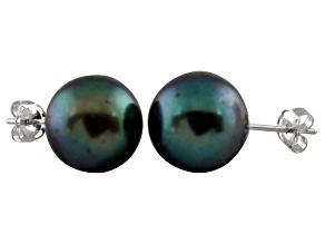 Pre-Owned 9-9.5mm Black Cultured Freshwater Pearl Sterling Silver Stud Earrings