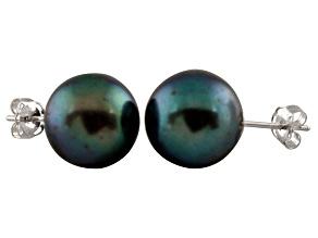 Pre-Owned 9-9.5mm Black Cultured Freshwater Pearl Sterling Silver Stud Earrings