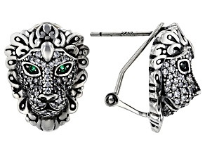 Pre-Owned Green And White Cubic Zirconia Rhodium Over Sterling Silver Lion Earrings 1.28ctw