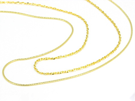 Pre-Owned 18k Yellow Gold Over Silver Twisted Serpentine And Snake Chain Adjustable 24 inch Necklace