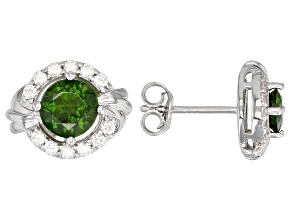 Pre-Owned Green Russian Chrome Diopside Rhodium Over Silver Earrings 1.13ctw