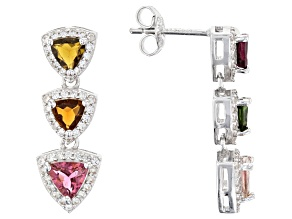 Pre-Owned Multi-Tourmaline Rhodium Over Silver Earrings 1.50ctw