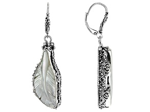 Pre-Owned White Mother Of Pearl Silver Feather Earrings