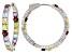 Pre-Owned Multi-Gem Sterling Silver Hoop Earrings 8.56ctw