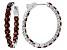 Pre-Owned Red Garnet Sterling Silver Hoop Earrings 10.20ctw