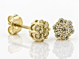 Pre-Owned Natural Yellow Diamond 10K Yellow Gold Earrings 0.45ctw