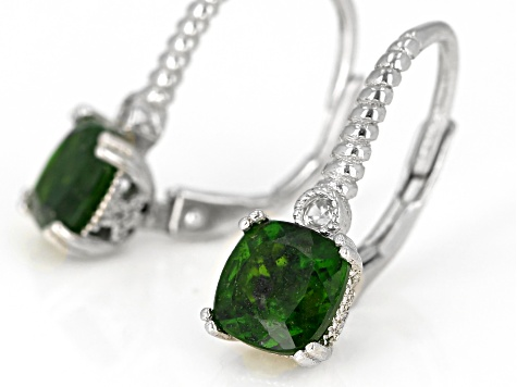 Pre-Owned Green Chrome Diopside Rhodium Over Silver Earrings 2.03ctw