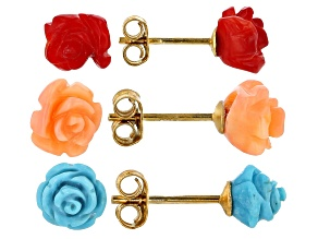 Pre-Owned Sleeping Beauty Turquoise, Red & Pink Coral Carved Flower Stud Earrings Set