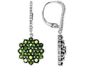 Pre-Owned Green Chrome Diopside Rhodium Over Sterling Silver Earrings 4.15ctw