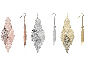 Pre-Owned  Tri-Color Elongated Leaf Earrings Set Of 3