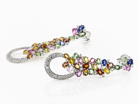 Pre-Owned Multi-Sapphire Sterling Silver Earrings 12.65ctw