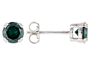 Pre-Owned Green Moissanite Platineve Earrings 1.00ctw D.E.W