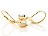 Pre-Owned Moissanite Fire® .82ctw DEW Square Brilliant 14k Yellow Gold Over Sterling Silver Earrings
