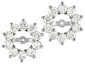 Pre-Owned Womens Halo Earrings Jackets White Moissanite 1.20ct Round Platineve