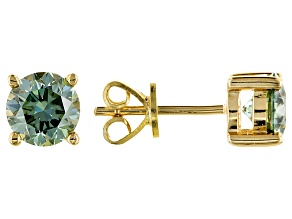 Pre-Owned Green moissanite stud earrings 14k yellow gold over sterling silver 1.60ctw DEW.