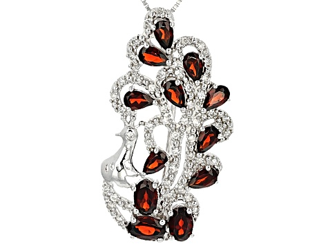 Pre-Owned Red Garnet Sterling Silver Peacock Brooch/Pendant With Chain 4.16ctw