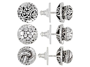 Pre-Owned Sterling Silver Interchangeable Earrings and Jackets Set Of Three Pairs Each.